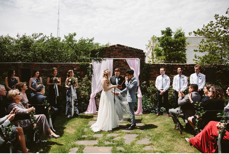 detroit michigan courtyard wedding ceremony