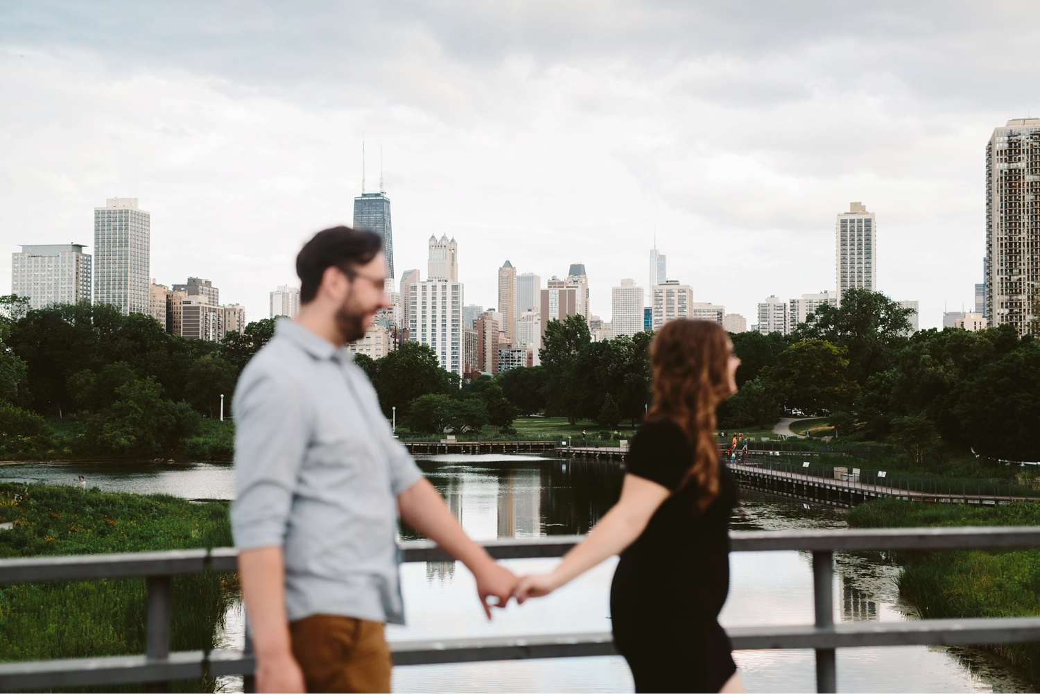 chicago skyline lincoln park engagement photographer