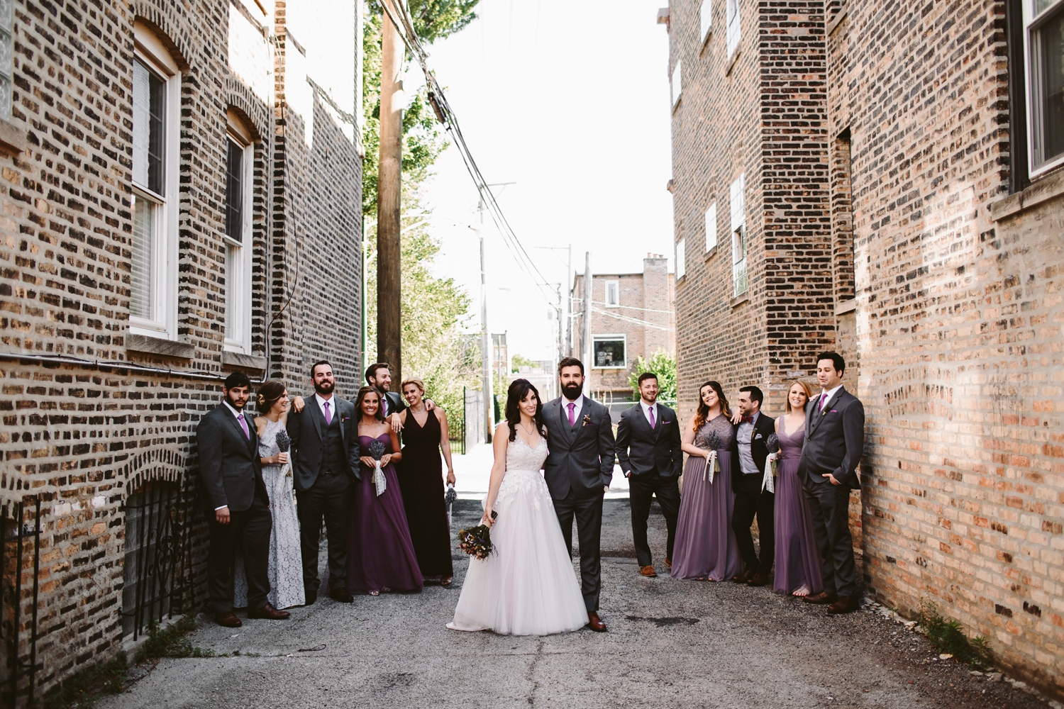 bridal party outside firehouse chicago wedding venue