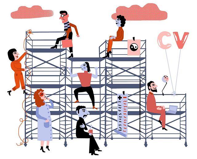 Idag liknar vi inte karriären med en rak stege till toppen utan mer som en klätterställning där vi klättrar upp, ner och åt sidan för att finna balansen i livet #vision #editorial #redaktionellillustration #balance #livspusslet #instagood #illustration #illustrator #mariaraymondsdotter