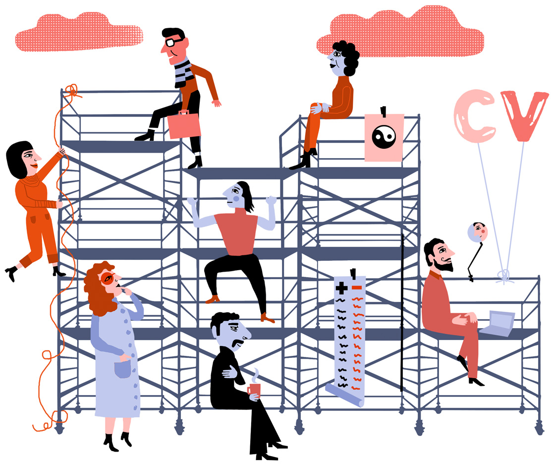 Today the career ladder is replaced by a climbing frame in order to get a balance in life. We move up, down and sideways during our worklife.