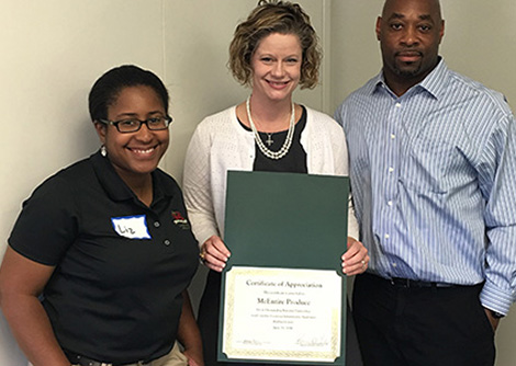 Lizzeth Hensley (left) and Markos Young (right) from the McEntire Produce Human Resources Department; Stacy Lever, Richland Area Supervisor.