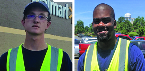 "Photo: Two former Lancaster VR clients have been chosen as Employee of the Month at Walmart: Tyler Hinson, left, for the month of June and Andre Martin for the month of July. Both work as Courtesy Associates and ""love their jobs and working for Walmart""."