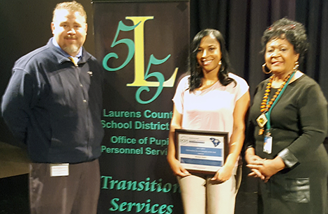 (left to right): Chad Ulmer, Laurens Area Supervisor; Nitoya Evans, Transition Counselor; Carolyn Shortt, District Transition Coordinator for Laurens County.