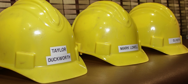 The interns got to keep the safety helmets they used during the Inclusion Academy as mementos.