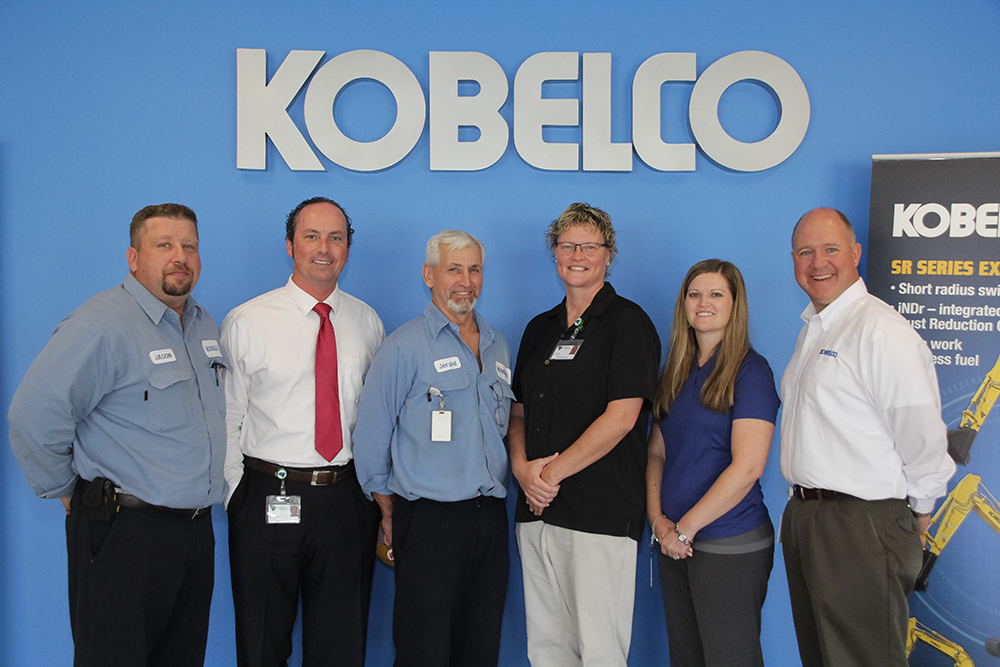 (left to right): Jason Martel, Production Fabrication Supervisor, Kobelco; Ryan Skinner, Business Development Specialist; Jerald Grimes, Welder, Kobelco; Amelia England, Employment Coach; Linsey Cooke, Environmental Health and Safety/HR Specialist, Kobelco; Eric Holland, Human Resources Manager, Kobelco.