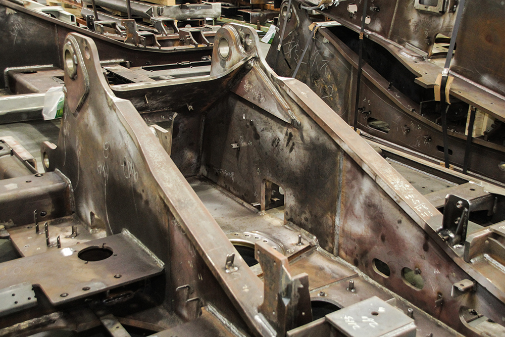 Part of the lower frame assembly for an excavator.