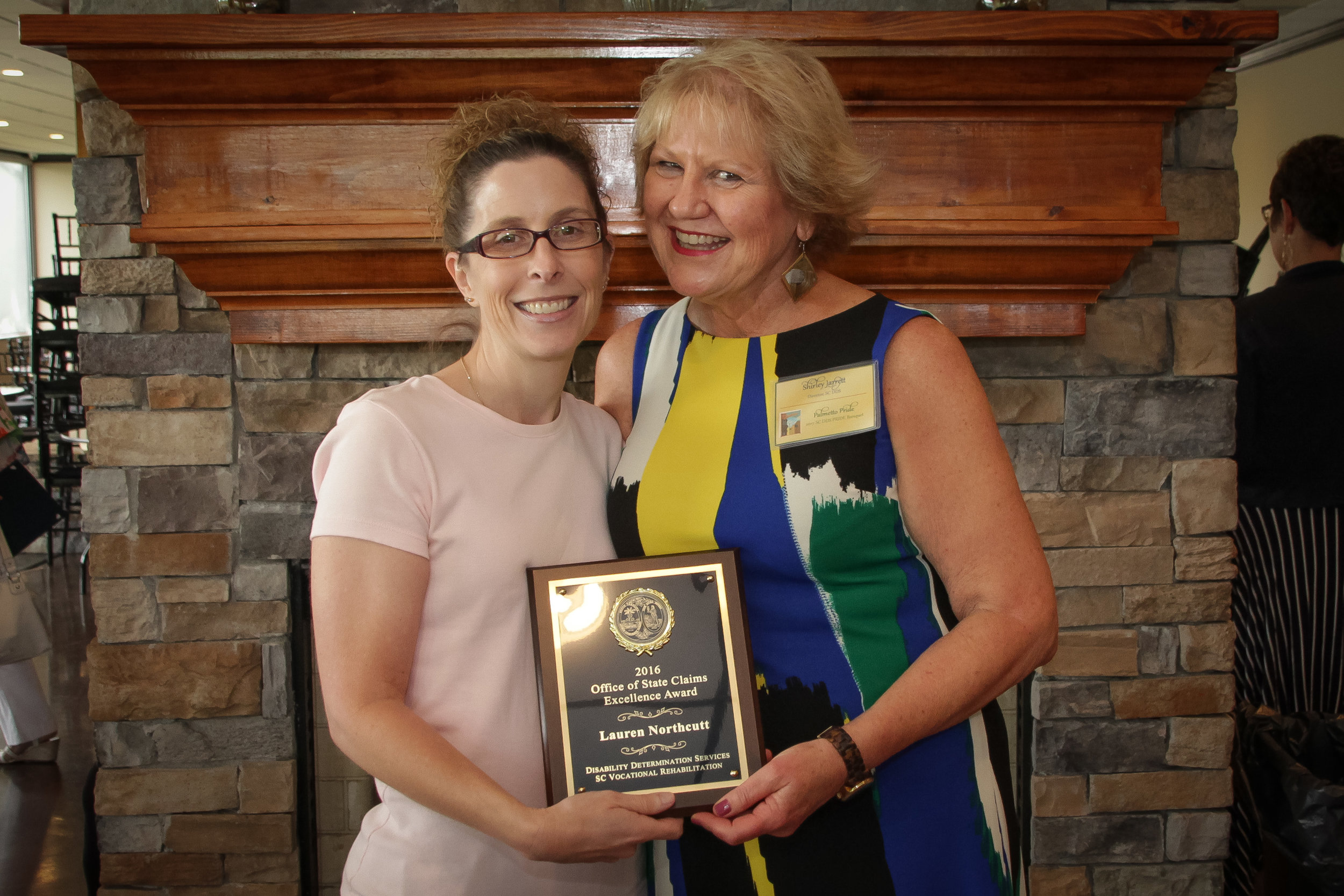 Office of State Claims Excellence Award  Lauren Northcutt - Columbia DDS Shirley Jarrett, Disability Determination Services (DDS) Director