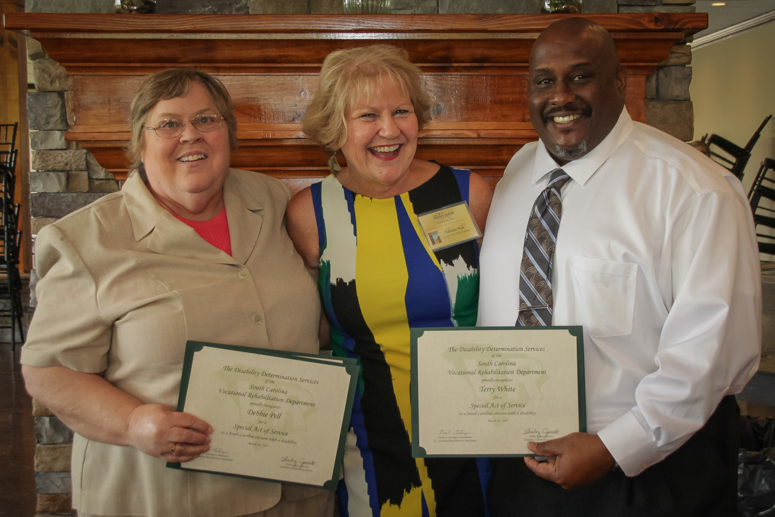 Mary Simmons Special Act of Service  Debbie Pell, Terry White, Sally Phillips (not pictured) - Charleston DDS Shirley Jarrett, Disability Determination Services (DDS) Director