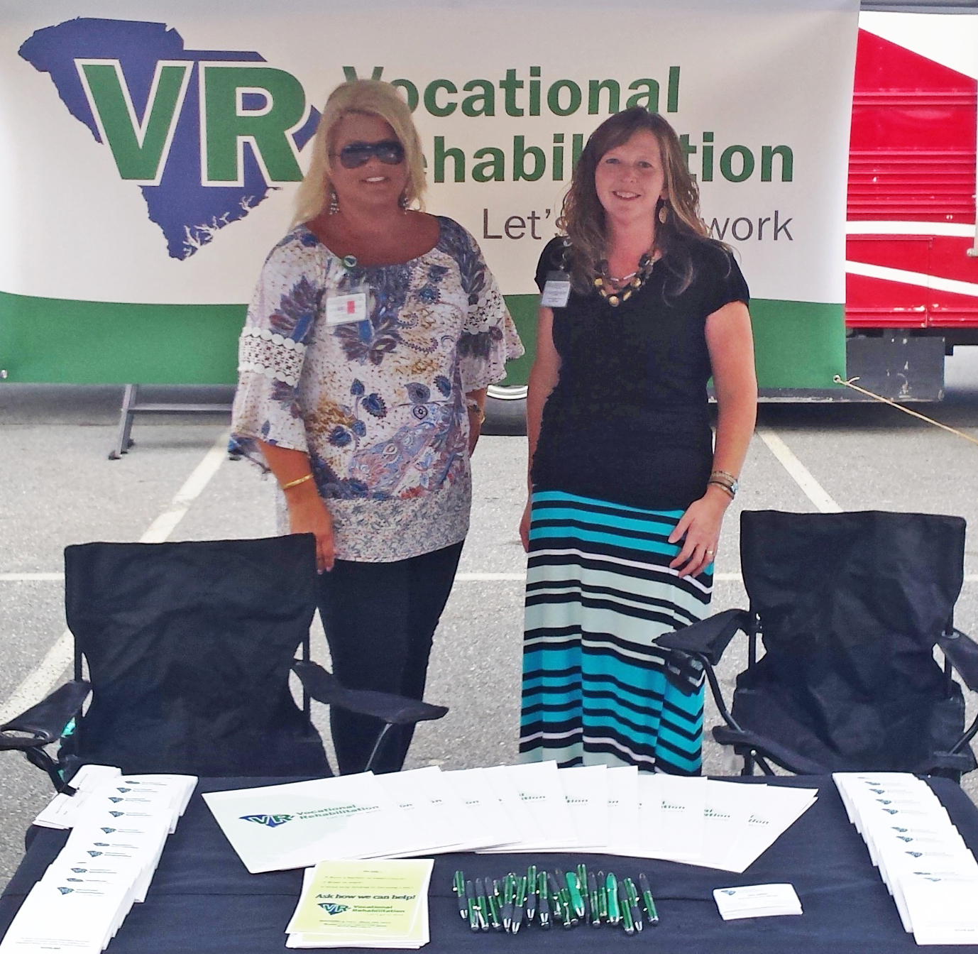 """Left to right: Lisa Hall, Business Development Specialist, and Julie Atkins, Area Client Services Manager, represented VR at the town of Duncan's  """"National Night Out"""" on August 1. The event offered networking opportunities with local business and community organizations, and resulted in successful referral development."""