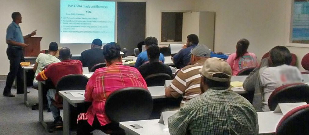 Cliff Thomas, standing, Program Manager of Industrial Technology at Central Carolina Technical College, leads the OSHA 10 class at the Sumter Office.
