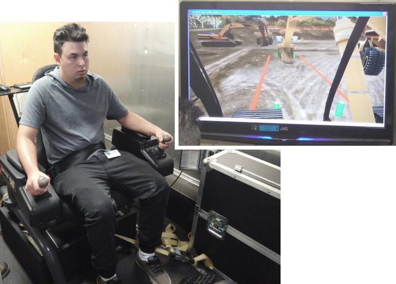 Bryan Getsinger, client, trains on the Heavy Equipment Simulator.