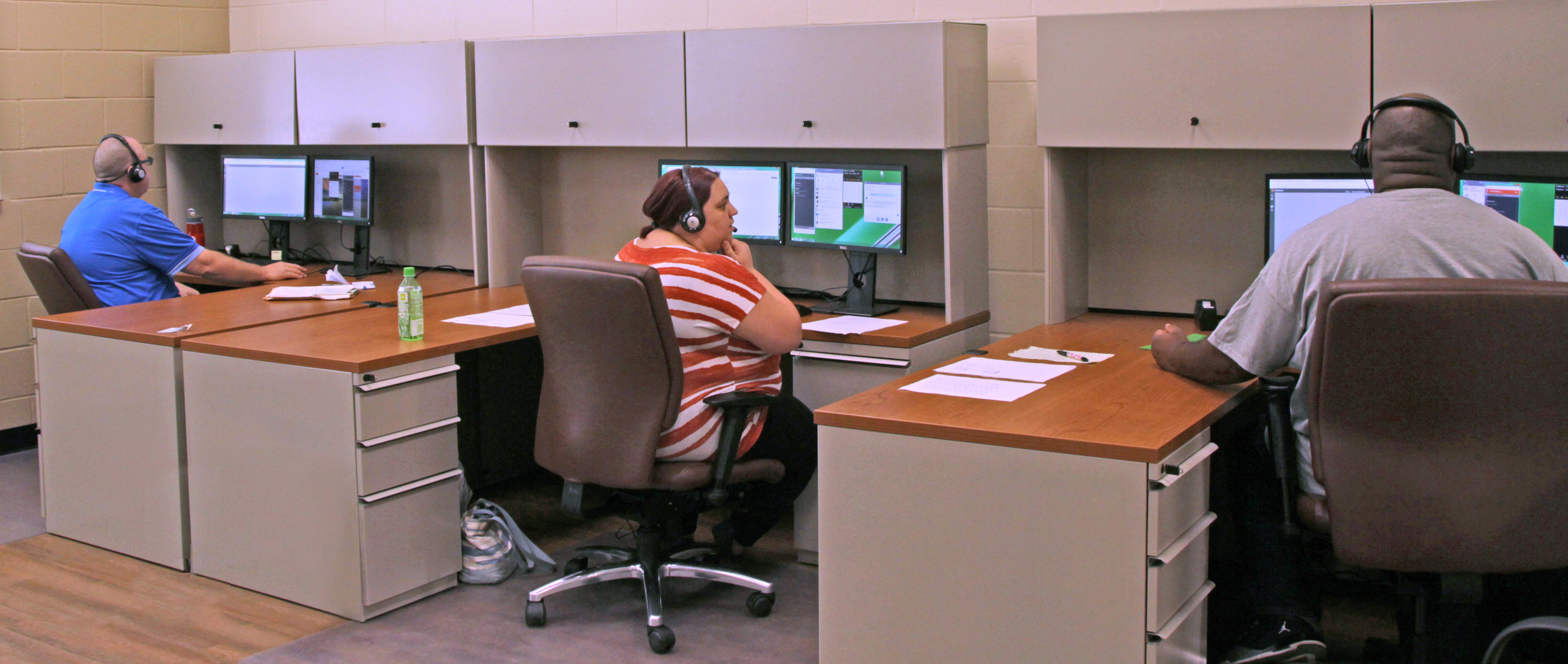 Real and simulated inbound calls are received by VR clients at the Bryant Center in Lyman as part of the training initiative with BPO American.