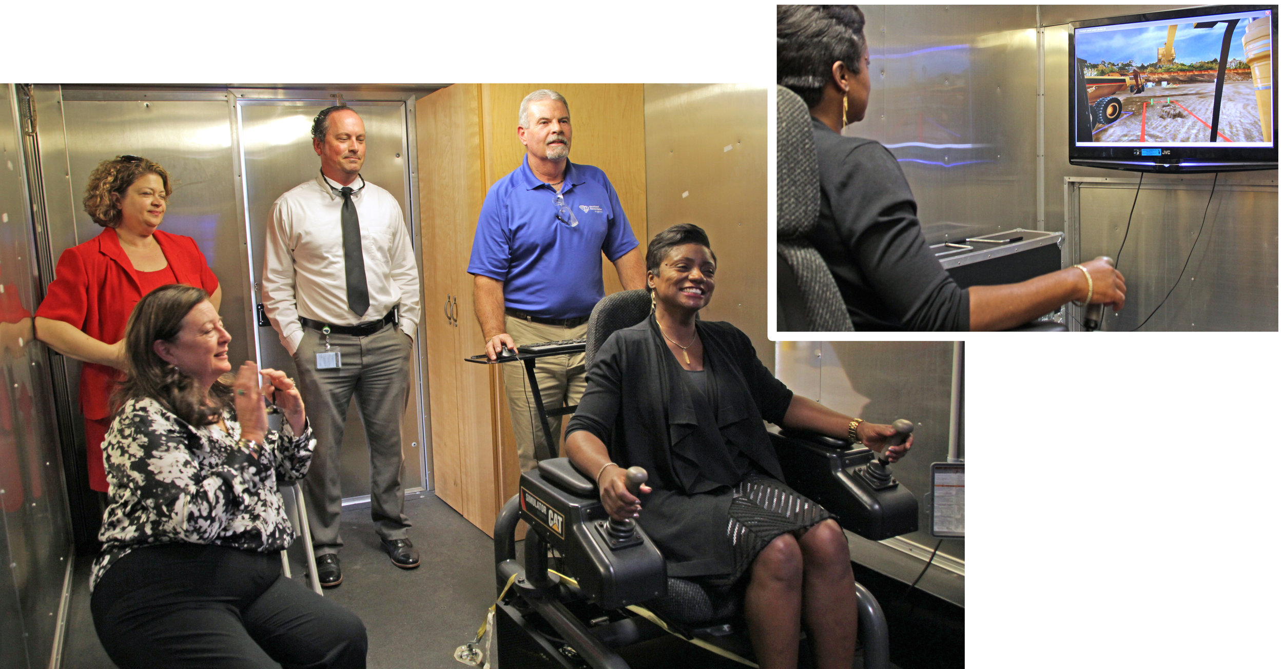 Jennie Thomas, Area Administrator; Dr. Roxzanne Breland, Agency Board Chair; Ryan Skinner Upstate Regional BDS; and Jayhue Weisner, Bryant Center Training Center Manager, watch as Interim Commissioner Felicia Johnson receives hands-on training in Sloan Construction's heavy equipment simulator.