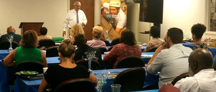 Steve Patterson, VR Correctional Program Development Specialist, speaks to attendees at the Sumter Area Business Partnership Breakfast.