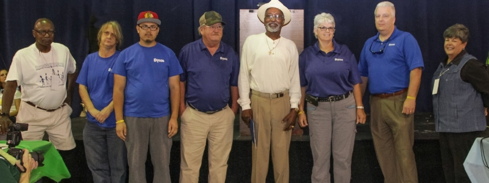(left to right) Donald Davis, Sr, Co-chair, Spartanburg Mayor's Committee; Martha Turner, former VR Consumer; J.R. Pourchot, former VR Consumer; Buddy Terrell, Site Supervisor for Rite Aid, Dycos; John Henry Jones, former VR Consumer; Holly Hamby, District Manager, Dycos; Phil Bryan,  General Manager, Dycos; Dr. Page McCraw, President, SC School for the Deaf and Blind and Co-Chair, Spartanburg Mayor's Committee.