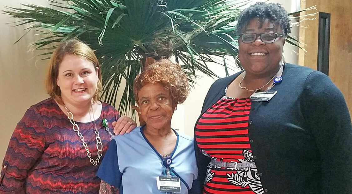 (left to right): Sara Wilson, VR Business Development Specialist; Vernelle Gettie, Environmental Services Associate, Aramark; Veronica Woods, Operations Manager, Aramark.
