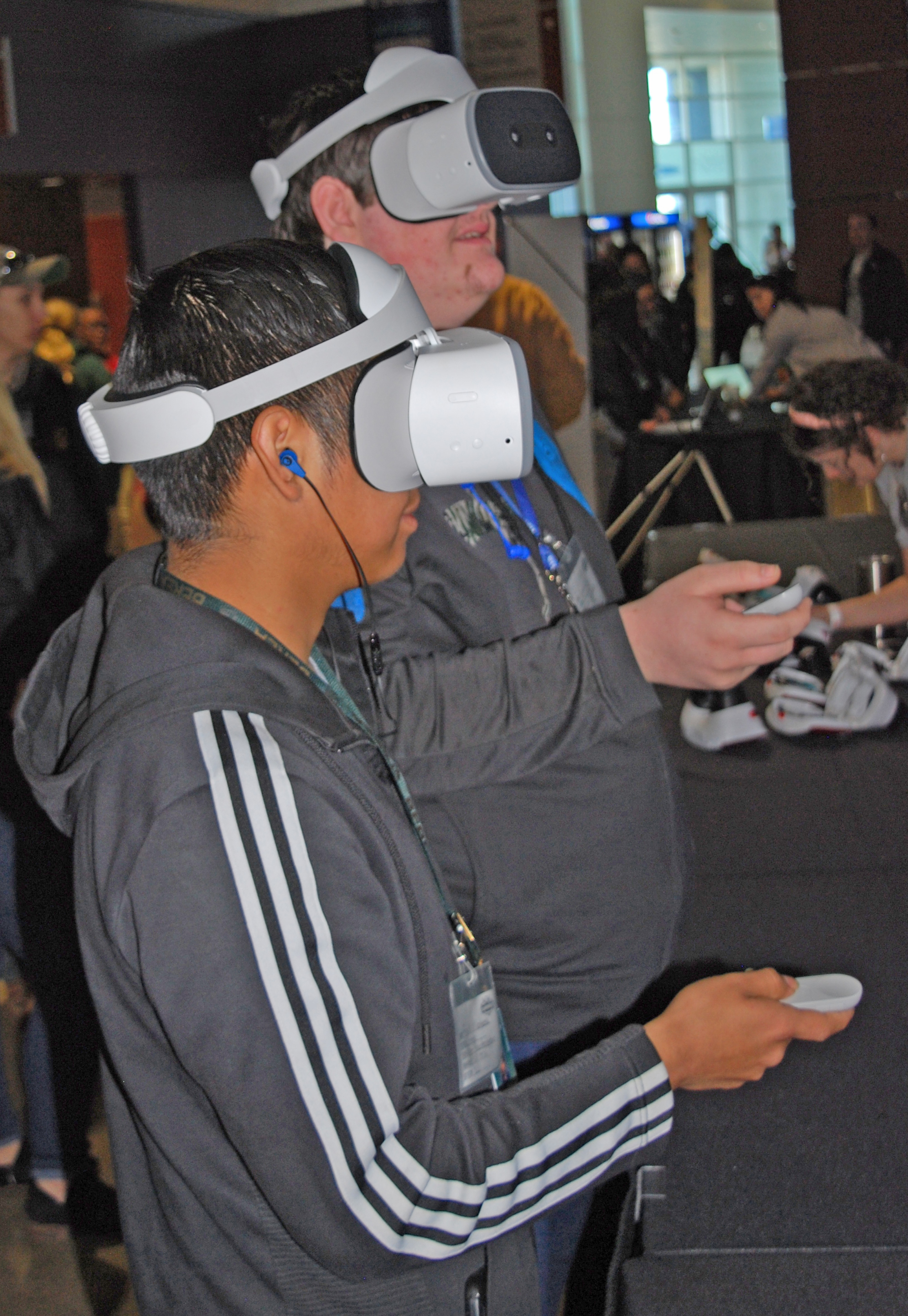 """Students have fun exploring virtual reality learning during """"STEAM Day"""" at Bon Secours Wellness Arena."""