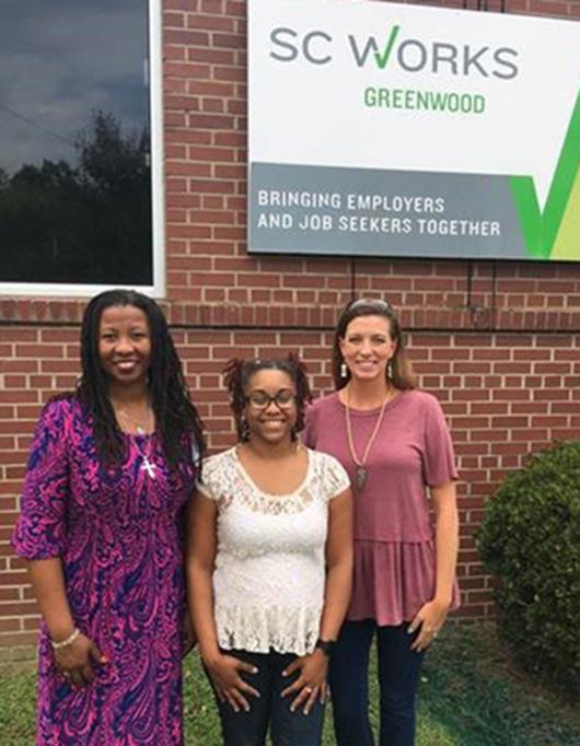 Left to right: Shelia Reynolds, VR Counselor; Makeela Puckett, former VR Consumer; Katie Craven, GLEAMNS Workforce Development Director.