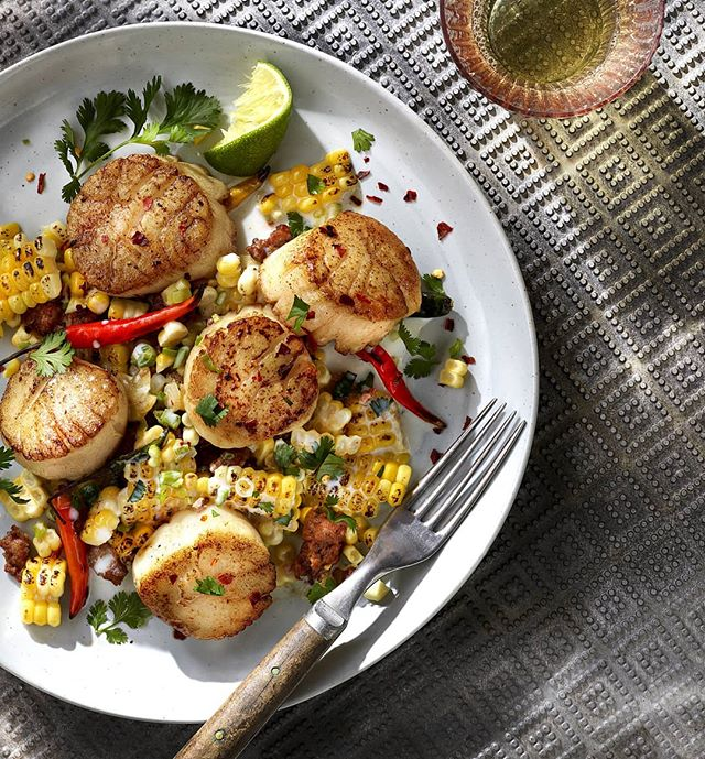 Scallops with corn chorizo salad. @cindymelin I don't even eat seafood & this looks good to me! Love our sample days! & love this new surface! It's not very big but it's a beauty! #props #propstylist #propstyling #prophouse #propcloset #propcollection #prop #foodphotography #foodphotographyprops #lovemyjob #hoarder #create #foodporn #instafood #instagood #production #vintage #propstylers #foodphotographypropsforrent #foodphotographyproprental #texturedmetal #scallops #cornchorizosalad #yummy #seafood #setlife #setstyling #tabletop #tabletopstylist #tabletopproduction