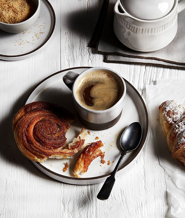 A pastry & an espresso. Such a European breakfast. CB2 plates. #cb2 #breakfast #europeanbreakfast #pastry #pastryandcoffee #espresso  #coffee #riseandshine #propstylist #propstyling #prophouse #propcloset #propcollection #prop #foodphotography #foodphotographyprops #lovemyjob #hoarder #create #foodporn #instafood #instagood #production #propstylers #foodphotographypropsforrent #propsforrent #propsforhire #surfacecollector #surfacerentals