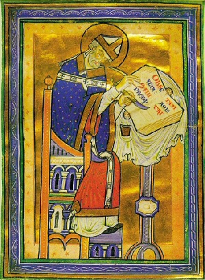 An illuminated illustration of St. Dunstan from medieval times.