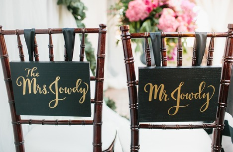 Hand painted Mr. & Mrs. chair back signs