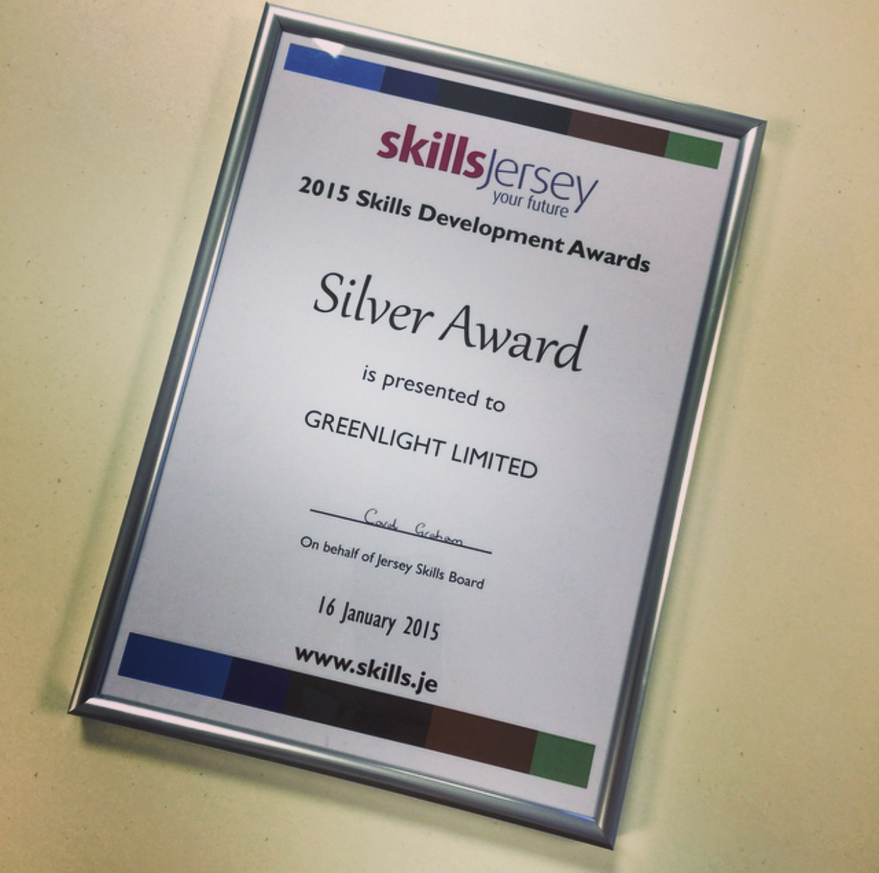 Greenlight's 2015 Skills Development Awards Certificate