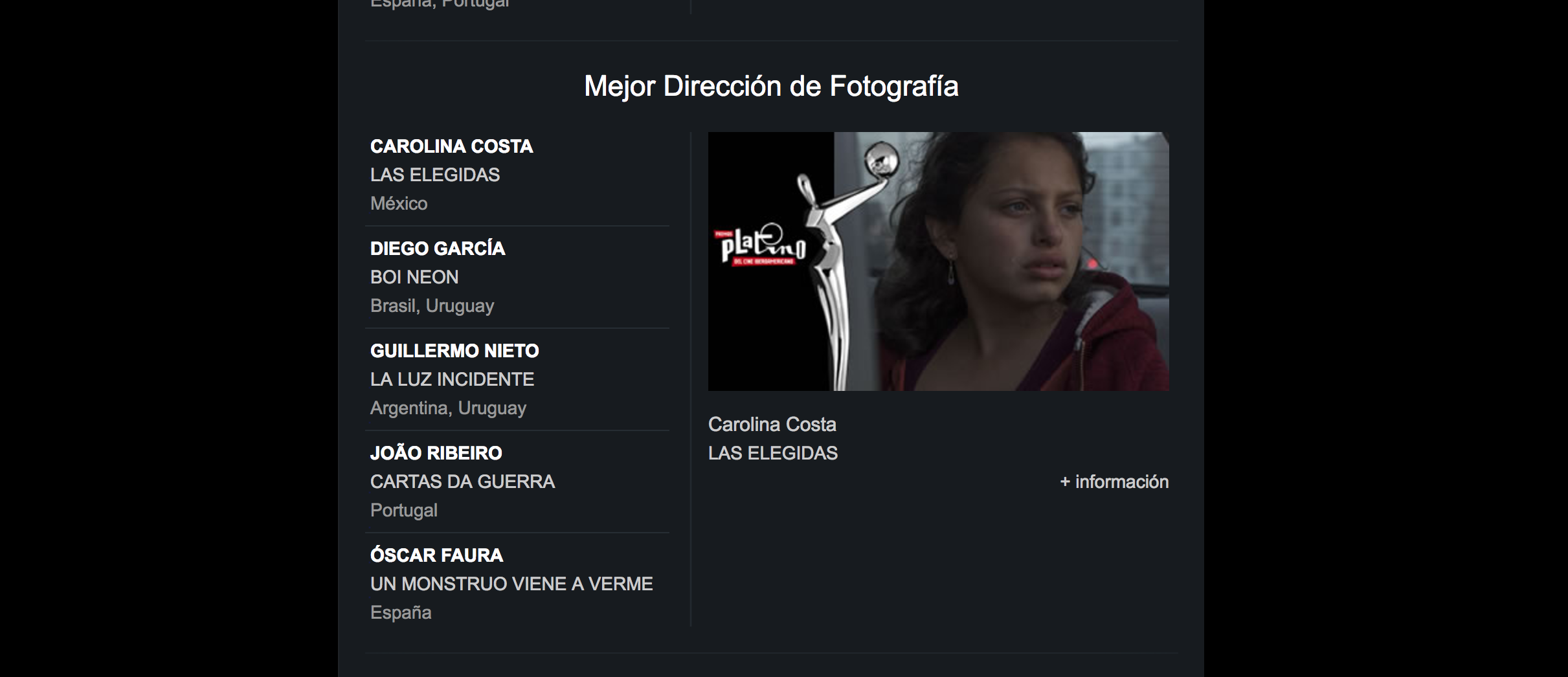 Click on image for link to the website for PREMIOS PLATINO.
