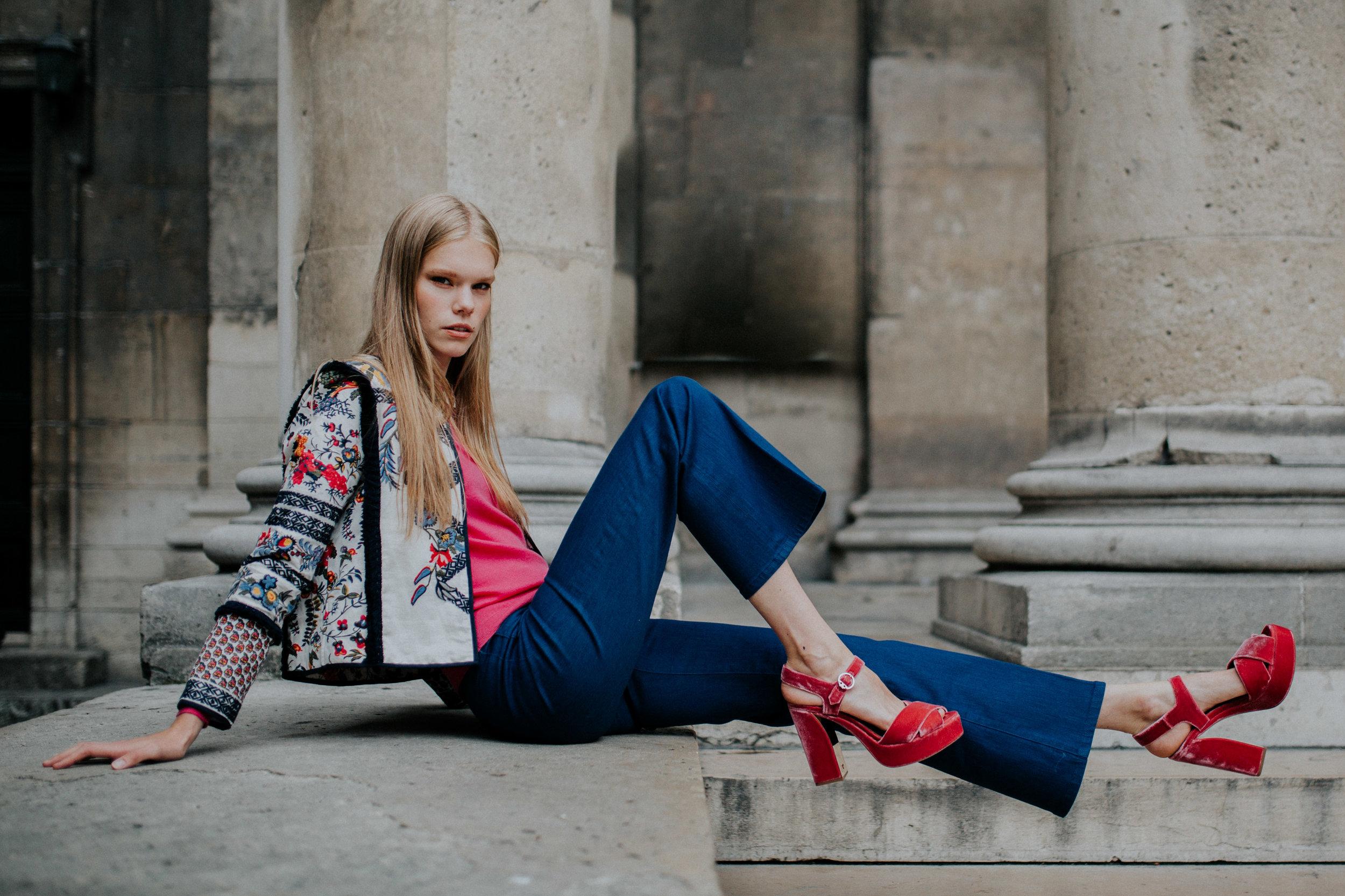 Vita - Look #3: Amber Jacket, Luisa Zip-Front Flare Jeans,Loretta Velvet Platform Sandals, Parker Floral Convertible Large Shoulder Bag