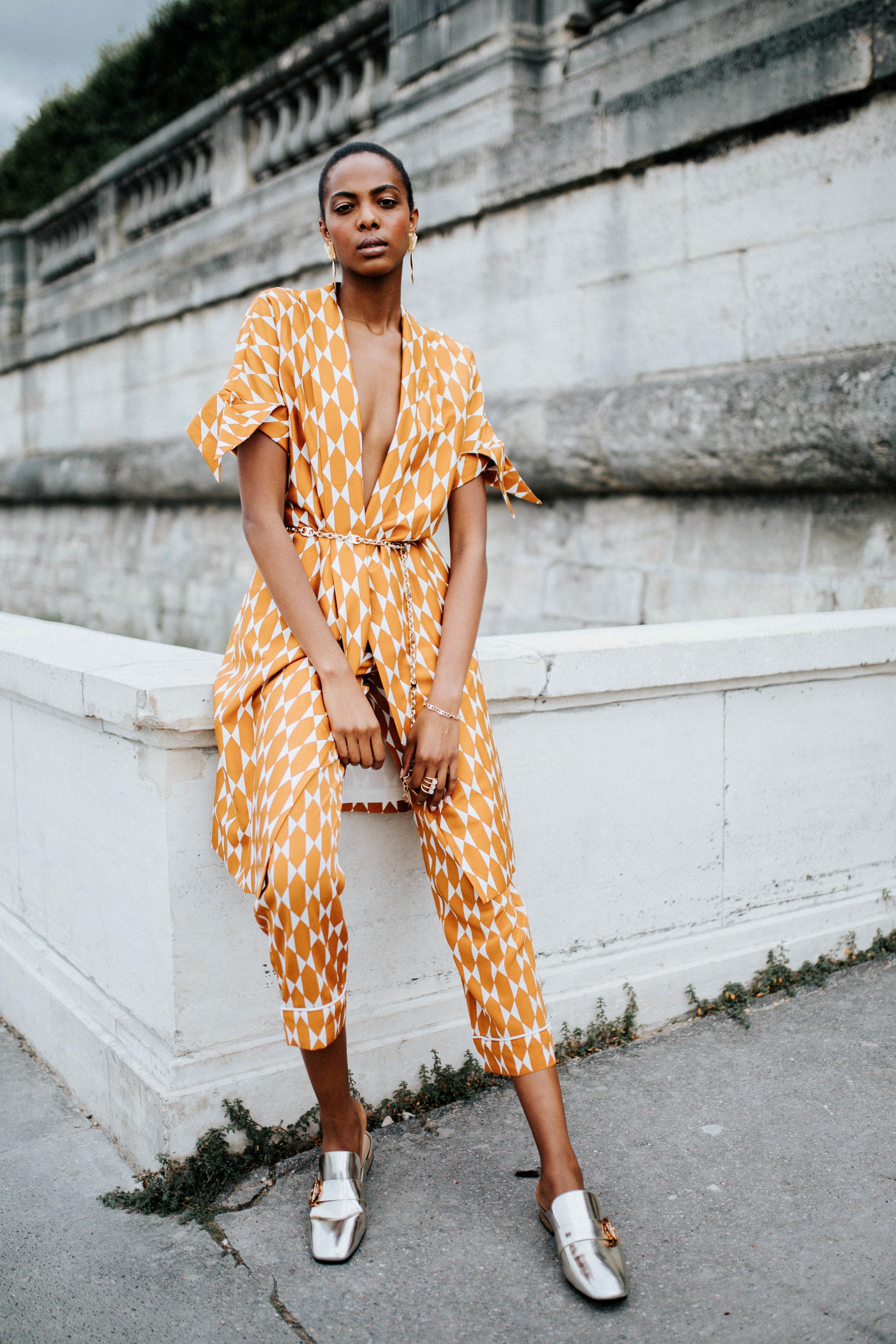 Atasia Malick Dia - Atasia's Look #6: Haley Coat, Devi Pant, Dragonfly Earrings, Sidney Backless Loafers