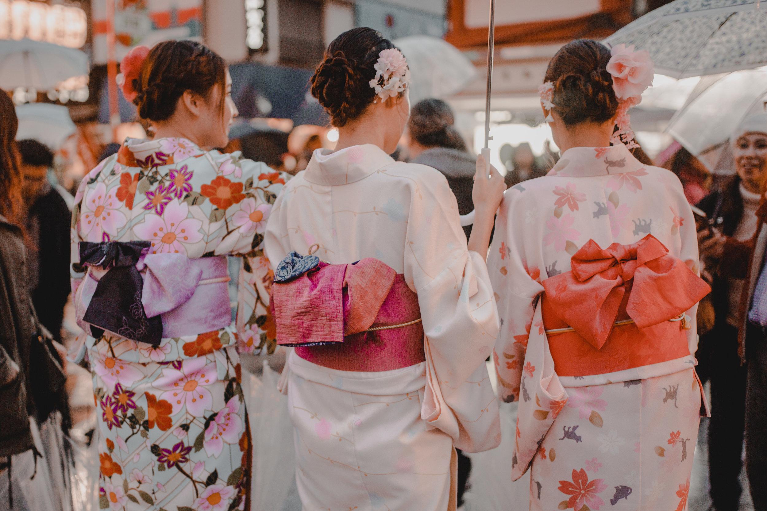 Kimonos in Asakusa Senso-Ji Temple in Tokyo