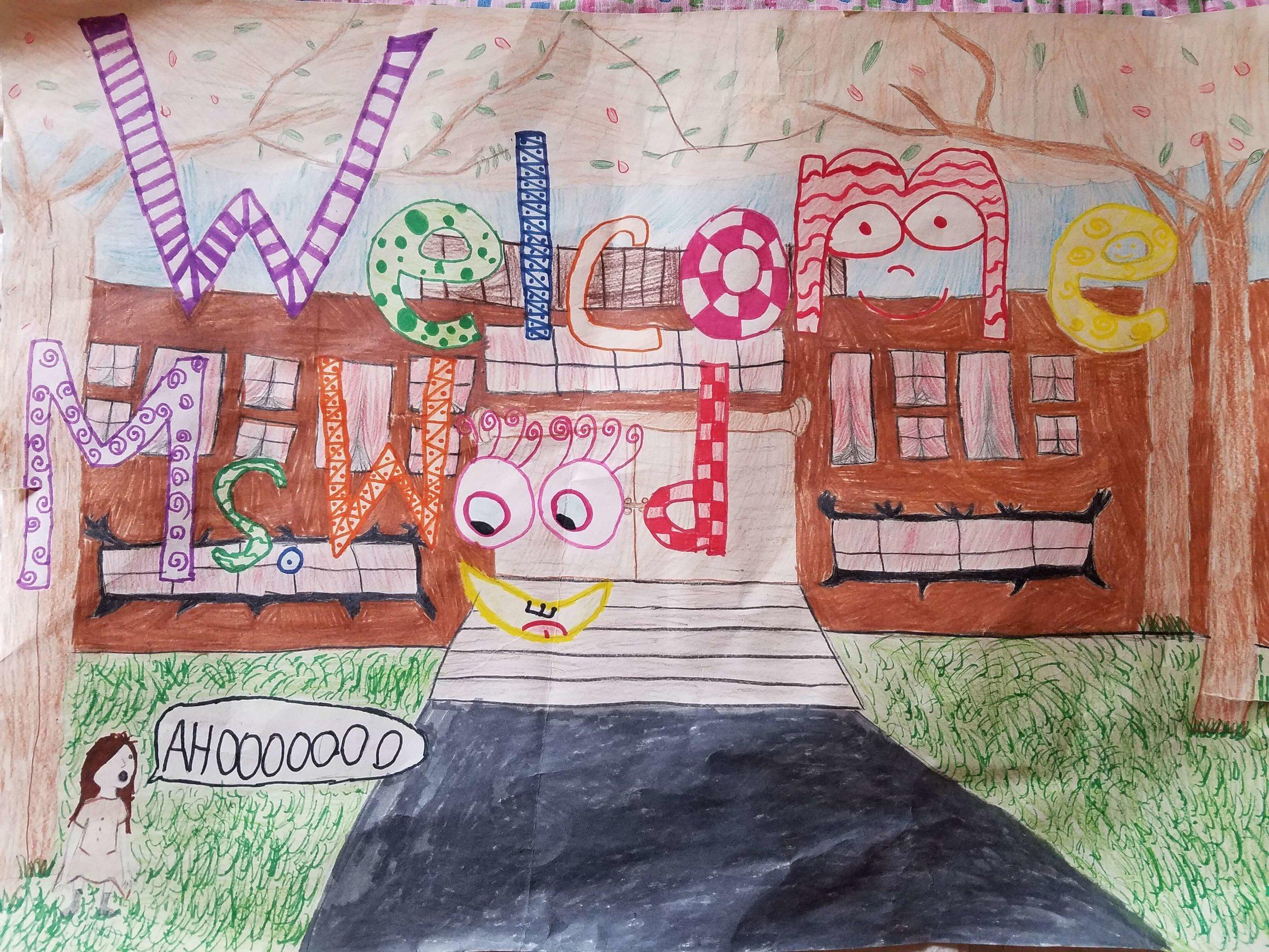 Kid's drawing, welcome ms wood.jpg