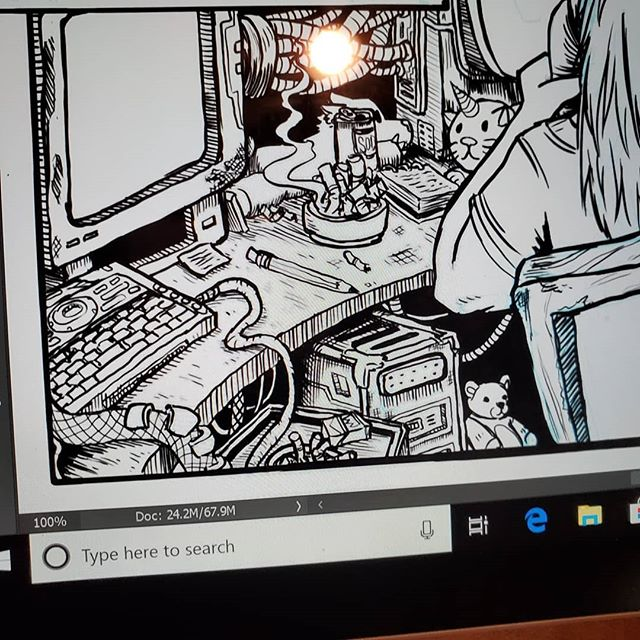 Details on a panel I'm workin on currently. Psyched to draw something different finally. It's been like 7 or 8 pages of couches and wood-grain. Now I getta draw computers and stuffed animals for a page or two lol.  #art #digitalart #traditionalart #comicart #comic #comics #photoshop #graphicnovel #webcomic #stormsoul #webcomics #sketch #sketchpage #coffeemage