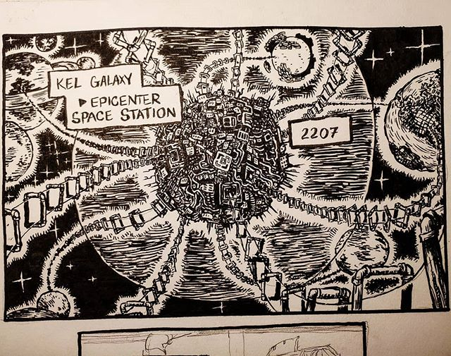 I'm having so much fun going back to inks for a lil bit. ----- I have realized that I need to run two comics at the same time in order for there to be a decent amount of content on the site I'm gonna put up. I'm drawing this comic using traditional materials, as to not go absolutely insane and get tired of photoshop lmao. ----- I've been pushing back publishing everything online for a while now, but I think itll be better having a bunch of stuff to read up there when I finally do. 🤘🤘🤘🤘❤❤❤❤ #art #comic #comics #comicart #comicpanel #traditionalart #penandink #brushpen #pigmamicron #pigmabrush #micron #inktober #thetalesofsirreginald #webcomic #graphicnovel #epicnovel #scifi #lowscifi #planets #spacestation #solarsystem #coffeemage
