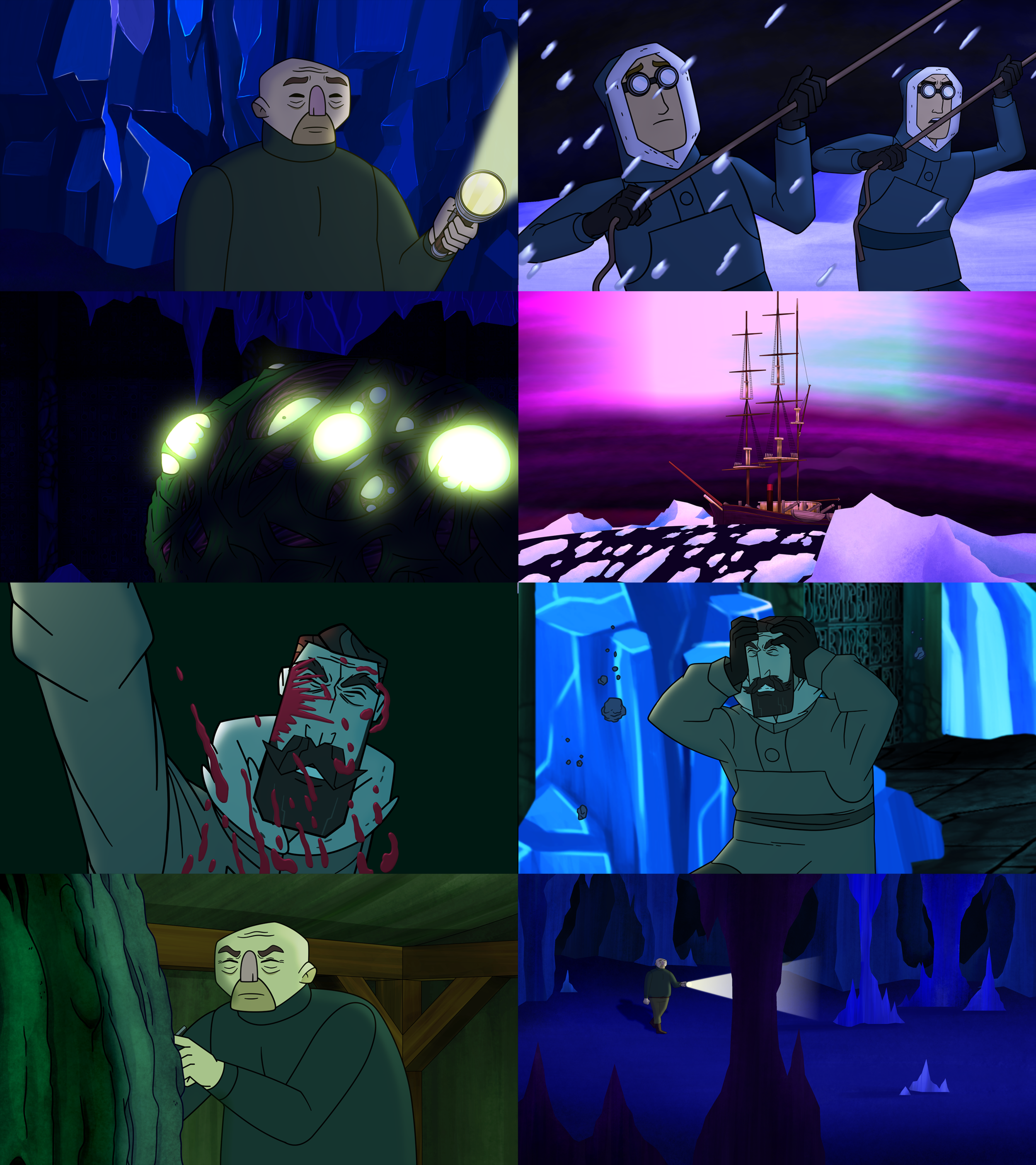 """MOUNTAINS OF MADNESS - MOUNTAINS OF MADNESSis an animated web series based on H.P. Lovecraft's Novella """"At the Mountains of Madness"""".In 1930 a team of scientists are utterly unprepared for what they discover at the bottom of the world.STRANGE CREATURESfrom beyond time and space wreck HAVOCon the group. And the survivors must face a truth more chilling than a LONELY DEATHon the frozen wastes of Antarctica.Watch our proof of concept video below. Find more episode and info at:http://mountainsofmadnessseries.com/"""