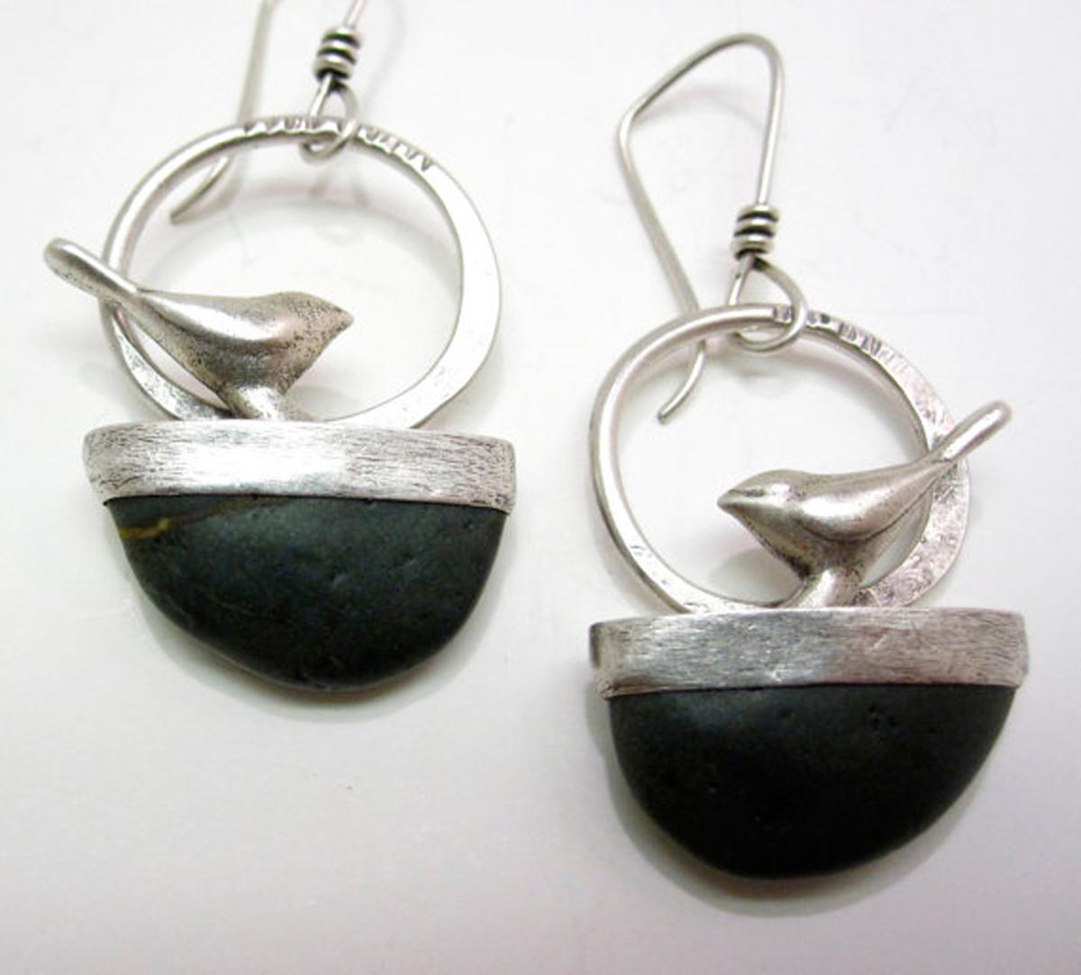 Bird on Stone Earrings