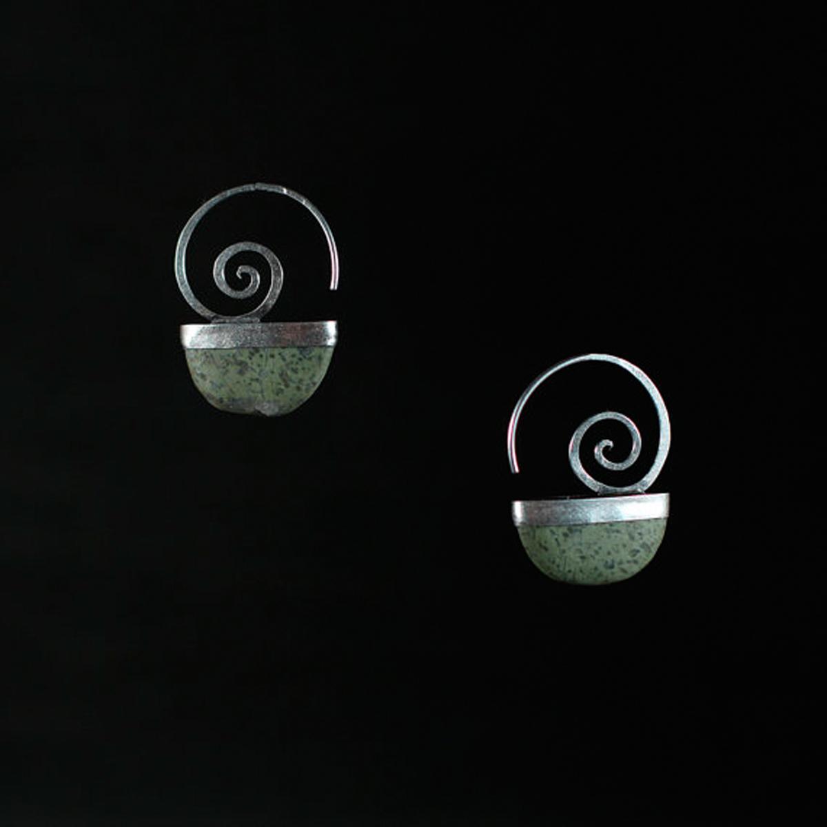 Stone Spiral Earrings