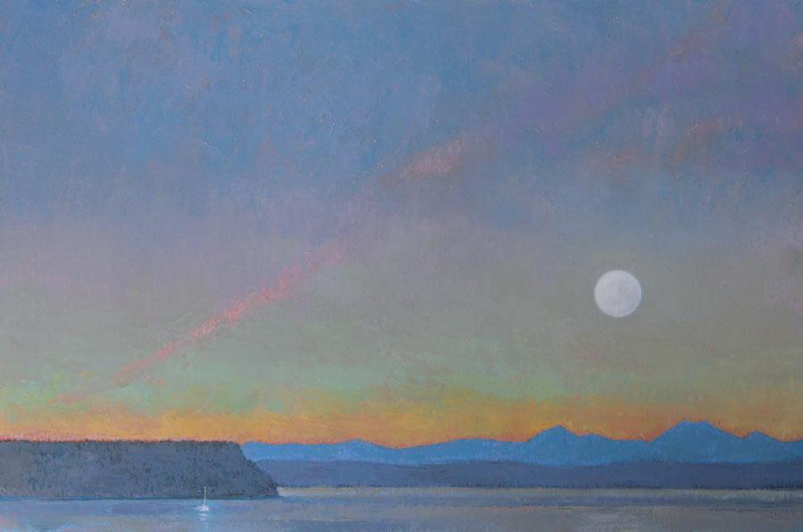 Saratoga Passage Moonrise, oil, 24 x 36