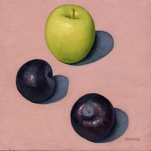 Two Plums and One Apple