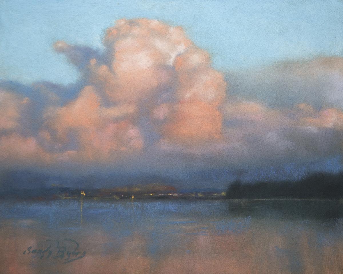 Sandy Byers, Sunset on the Saratoga, DryPastel, 8x10