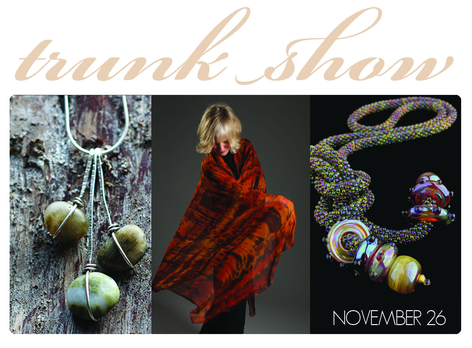 Just in time for the holidays, Cheryl Kamera, Marjorie Burr, and Rebecca Bashara take over the gallery for a pop-up trunk show. This is a fantastic opportunity to meet the artists, and to see a more extensive collection of their work than we normally have on display, including some rare and one-of-a-kind pieces.  Sip prosecco and spend some time getting to know the artists while you shop for yourself or for others.   Saturday November 26th, 1- 5 pm