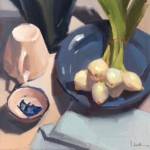 Green Onions on Blue