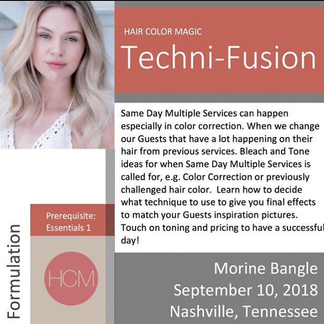 #HairColorMagic Class #TechniFusion Nashville, TN with @morinebangle @aveda Monday, September 10, 2018  Enrollment avedapurepro.com  #💙❤️💛 #HCM #MorineBangle