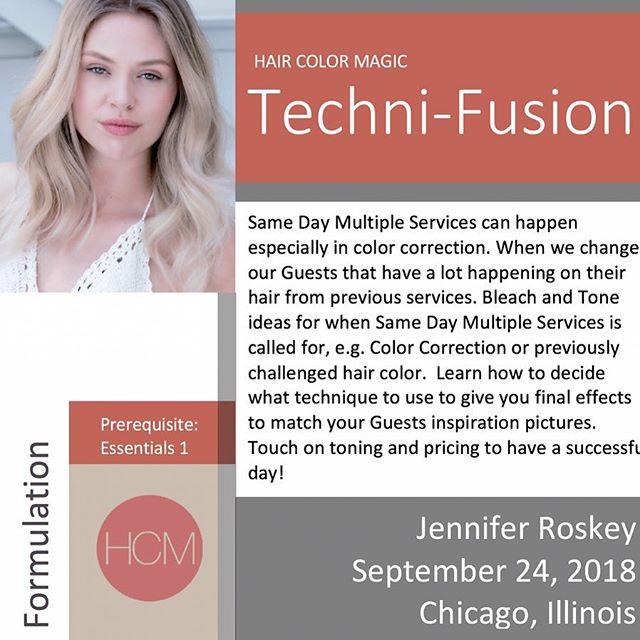Monday, September 24, 2018 #HairColorMagic Class, #TechniFusion, Chicago, IL with Jen Roskey @jen_roskey @aveda Enrollment avedapurepro.com  #💙❤️💛 #HCM #HairColorMagic #aveda #jenroskey
