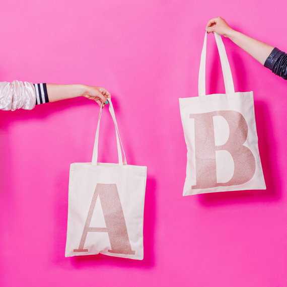 2. Alphabet Bags : Initial Rose Gold Glitter £15
