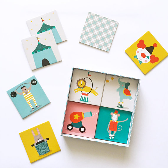 1. PAPER + PICKLES: Circus Memory game £15.70   A gorgeous nursery and kids room label created by Melbourne based designer and mama Ves. I also love her prints and gorgeous learn to count poster!