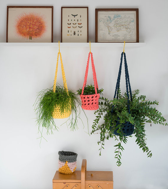 2. RACHEL ROGERS: Crochet plant hangers £20.   Love all the gorgeous crochet goods in clever mama Rachel's shop - especially her storage baskets and striped beach bags.