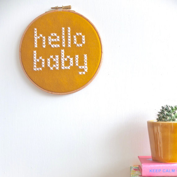 4. COTTON CLARA: Hello baby cross stitch embroidery hoop, £25.   I love the bright bold embroidery of mega talented mama Chloe. Her Instagram feed is also one of my absolute favourites and I love every single thing she makes.