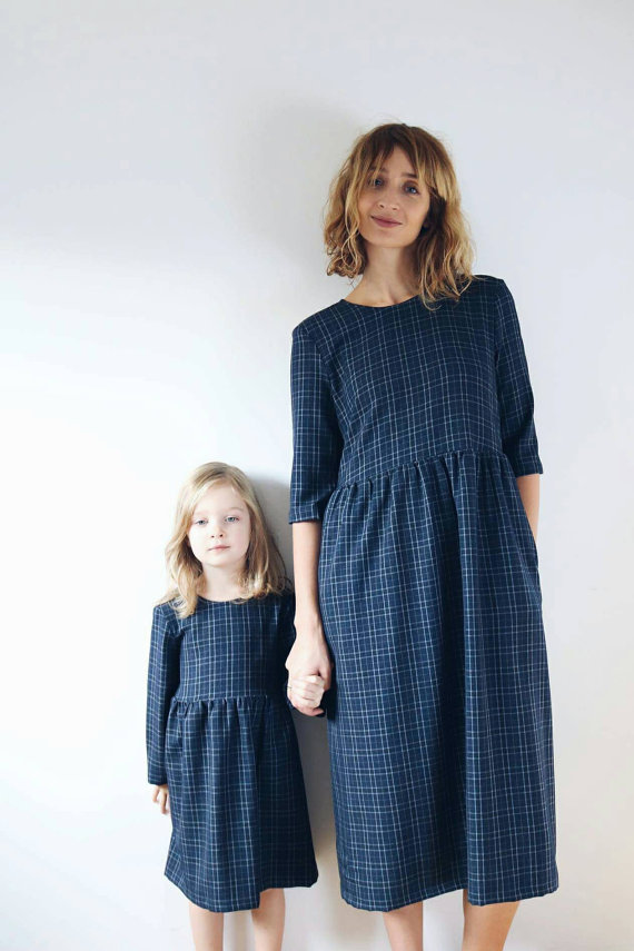 8. OFFON: Matching Mother/Daughter navy plaid dresses, £123.   Gorgeous custom handmade clothes, hand patterned, cut, sewn and packed in the studio of mega talented mama Simona. Her daughter Elze is the model and inspiration for her timeless pieces - i especially love her linen dresses and jumpsuits.
